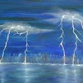 Lightning By The Lake Original Oil Painting by Anthony Morretta