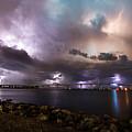 Lightning Over The Sanibel Bridge by Jon Neidert