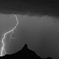 Lightning Storm At Pinnacle Peak Scottsdale Az Bw by James BO Insogna