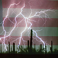 Lightning Storm In The Usa Desert Flag Background by James BO  Insogna