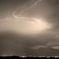 Lightning Strikes Over Boulder Colorado Sepia by James BO Insogna