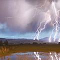 Lightning Striking Longs Peak Foothills 4 by James BO  Insogna