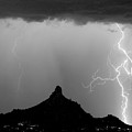 Lightning Thunderstorm At Pinnacle Peak Bw by James BO Insogna