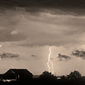 Lightning Thunderstorm July 12 2011 Strikes Over The City Sepia by James BO  Insogna
