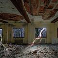 Lightnings On The Abandoned Hotel Of Liguria Mountains - Fulmini Su Hotel Abbandonato Sull'av by Enrico Pelos
