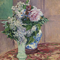 Lilacs And Peonies In Two Vases by Gustave Caillebotte