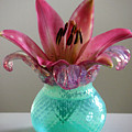 Lily In Antique Vase by Lucyna A M Green