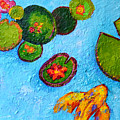 Lily Pads Waterlilies Pond Modern Impressionist Landscape Painting Palette Knife Work by Patricia Awapara