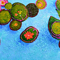 Lily Pads Waterlilies Pond Modern Impressionist Landscape Palette Knife Artwork by Patricia Awapara