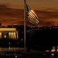 Lincoln Memorial American Flags Washington Dc by Lawrence S Richardson Jr