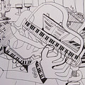 Line Art - The Piano Player by James Lavott