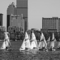 Line Of Boats On The Charles River Boston Ma Black And White by Toby McGuire
