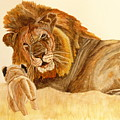 Lion Watercolor by Angeles M Pomata