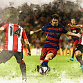 Lionel Messi Challenges The Athletic Bilbao Defense by Don Kuing