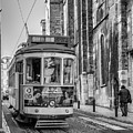 Lisbon City Tram In Mono by Georgia Fowler