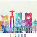Lisbon Landmarks Watercolor Poster by Pablo Romero