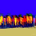 Lisse - Tulips Blue On Brown by Joost Hogervorst
