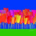 Lisse - Tulips Blue On Green by Joost Hogervorst