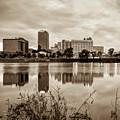 Litle Rock Arkansas Skyline - Square Sepia by Gregory Ballos