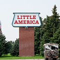 Little America Hotel Signage Vertical by Thomas Woolworth