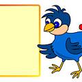 Little Bird With Message Board by Miroslav Nemecek