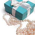 Little Blue Gift Box And Pearls by Amy Cicconi