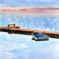 Little Boat On Foggy Lake II by Kerry Hartjen