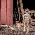 Little Boy And Rooster by Julie Palencia