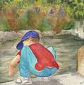 Little Boy At Japanese Garden by Vicki  Housel