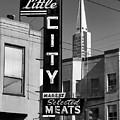 Little City Market North Beach San Francisco Bw by Bonnie Follett