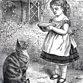 Little Girl Gives Her Cat Its Dinner by R Muirhead Art