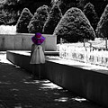 Little Girl In Magenta Hat Black And White Selective Color by Colleen Cornelius