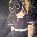 Little Girl Wear Gas Mask by Misty Greyeyes