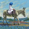 Little Girl With A Blue Bonnet by Jim Bob Swafford