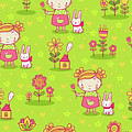 Little Girl With Her Rabbit On A Green Field by Long Shot