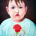 Little Girl With Rose by Edy Sutowo