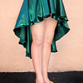 Ameynra Fashion Satin High Low Skirt, Dark-green by Sofia Metal Queen