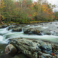 Little Pigeon River In Autumn In Smoky Mountains In Autumn by Carol Mellema
