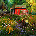 Little Red Flower Shed by John Lautermilch