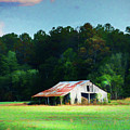 Little White Barn by Marvin Spates