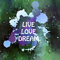 Live Love Dream Green Grunge by Georgiana Romanovna
