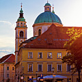 Ljubljana Church And Square Sunset View by Brch Photography