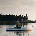 Lobster Boat Anchored In Port Clyde, Maine #8537 by John Bald