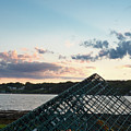 Lobster Trap At Dusk, Bailey Island, Harpswell, Maine #252412-14 by John Bald