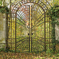 Locked Iron Gate In The Autumn Park.  by Jaroslav Frank