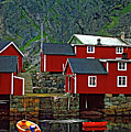 Lofoten Fishing Huts Oil by Steve Harrington