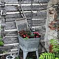 Log Cabin Garden Scene by Linda Phelps