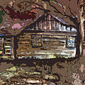 Log Cabin In Autumn by Mindy Newman
