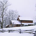 Log Cabin In Snow by Alan Lenk