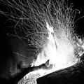 Log Campfire Burning At Night by John Williams